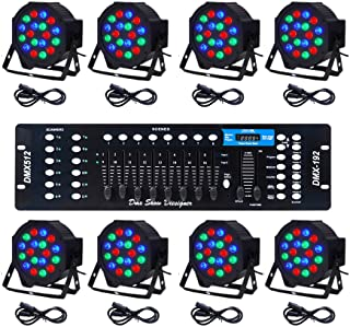 Sponsored Ad - CO-Z LED Stage Lights DMX, 8 pcs 18x3W RGB Par Can Lights Package with Remote Controller Sound Activated St...