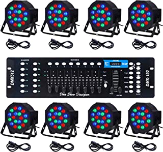 CO-Z LED Par Lights 18x3W Pack of 8 pcs RGB DJ Stage Party Light System with DMX Controller System Par Can LED Beam Pub Bar