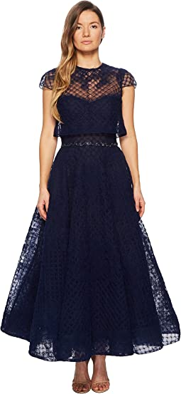 Marchesa Notte Honeycomb Textured Tulle Tea Length Gown w/ Short Sleeve Overlay