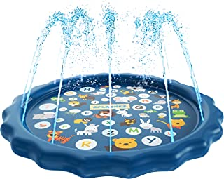 SplashEZ 3-in-1 Sprinkler for Kids, Splash Pad, and Wading Pool for Learning � Children�s Sprinkler Pool, 60�� Inflatable Water Toys � �from A to Z� Outdoor Swimming Pool for Babies and Toddlers