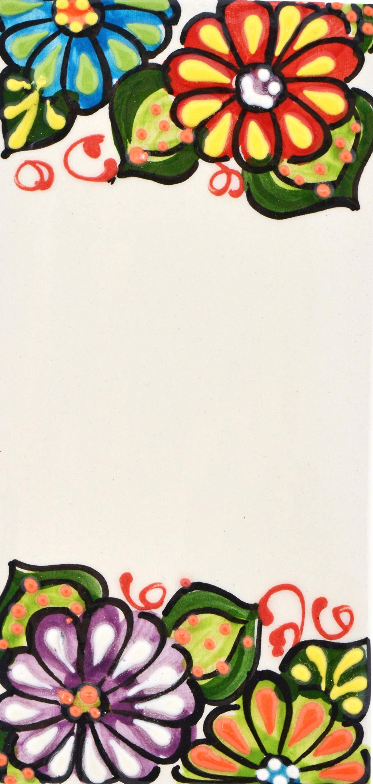 Letreros con numeros y letras en azulejo de ceramica hechos y pintados a mano, para placas con nombres, direcciones y señaléctica. Texto personalizable. Diseño JARDIN 14,5 cm x 7 cm. ESPACIO
