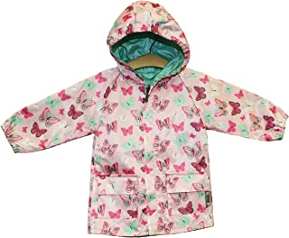 Pink and Mint Butterfly Reversible Rain Coat