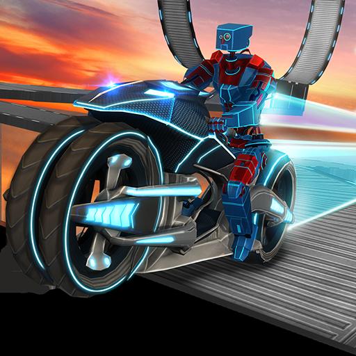 Traffic Bike Rider Racing & Drifting Adventure Simulator Missione: Robot Bike Stunt Extreme...
