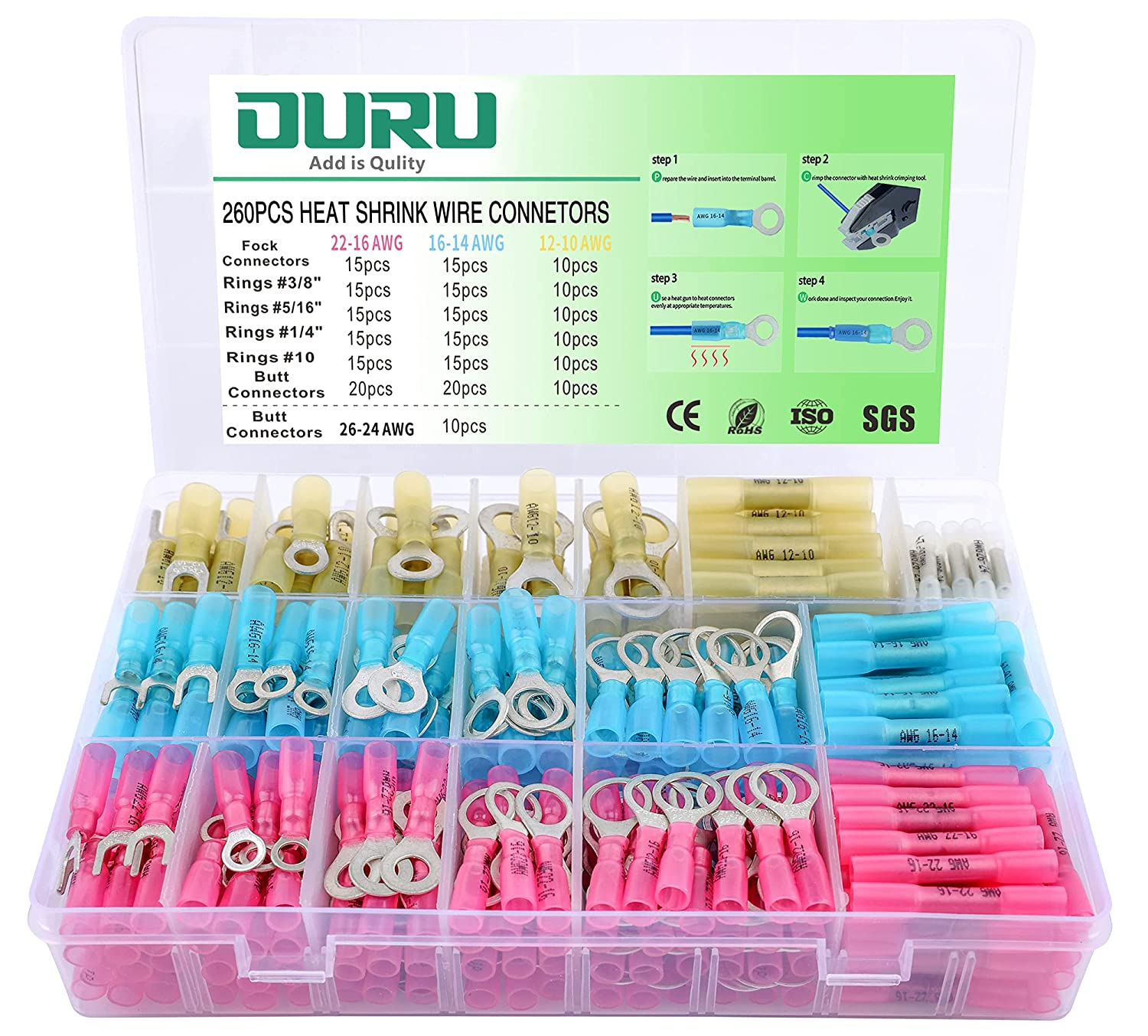 Max 59% OFF 260PCS Heat Shrink Wire OURU Grade Marine OFFicial mail order Connectors
