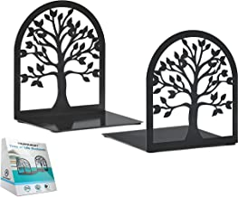 MAXFOUNDRY Bookends Decorative, Tree of Life Book Ends, Metal Bookends, Black Book Ends, Bookends for Shelves, Book Ends f...