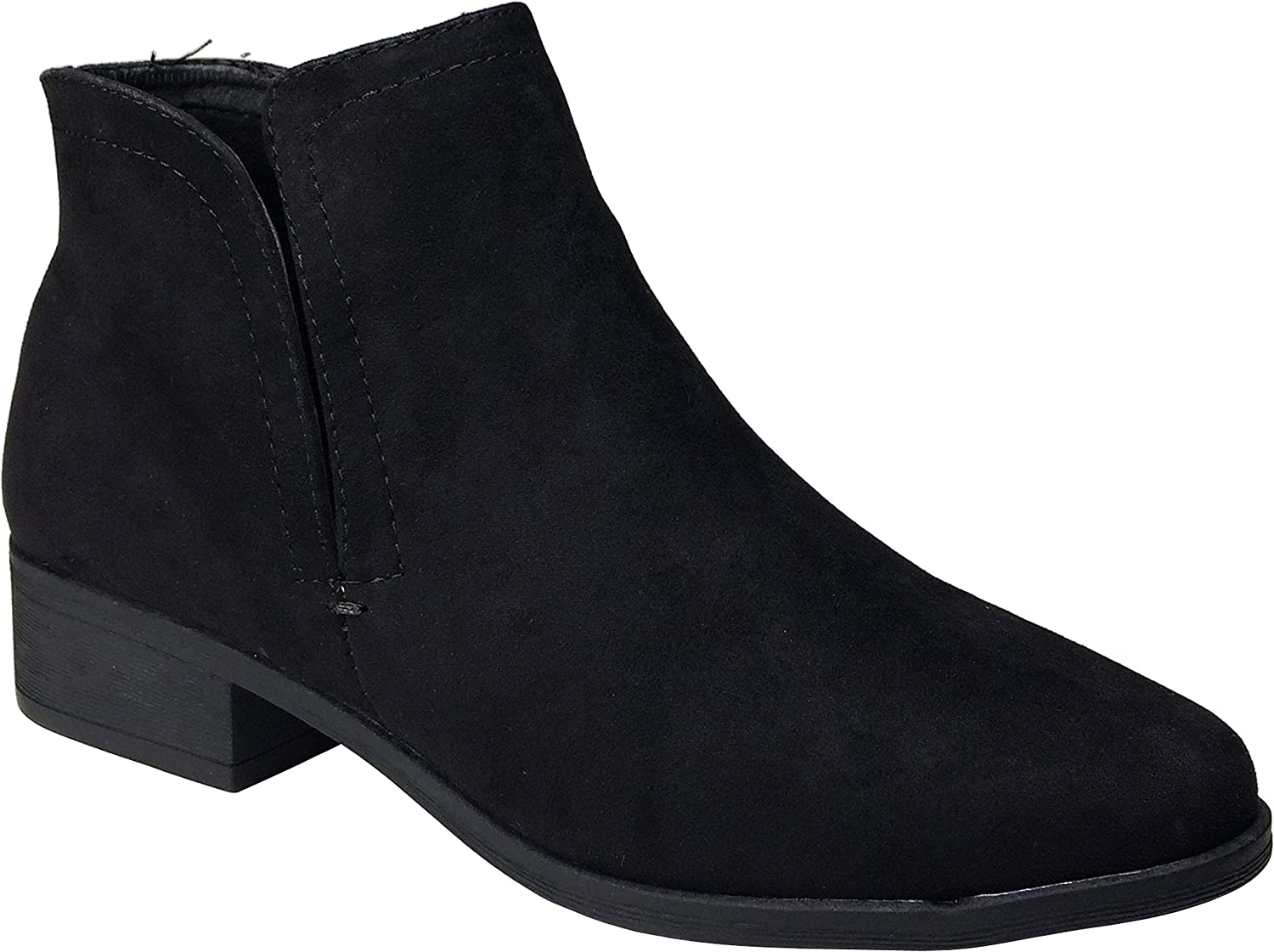 Bamboo Women's Plain Faux Suede Ankle Bootie
