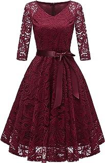 spitzenkleid rot LA ORCHID Laorchid Knielang cocktailkleid festliches Kleid a Linie Elegante Sommerkleid Damen Vintage Spitzenkleid Retro v Ausschnitt Kleid Spitze