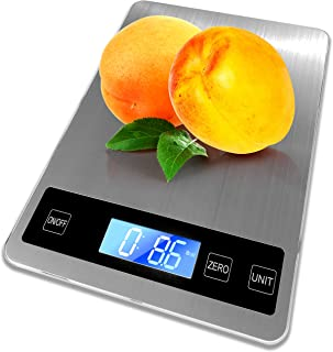 Bramtek Digital Kitchen Scale 22lb – Food Scale Measures in Grams and Ounces - 1 g/.1 oz Accuracy for Cooking/Baking, Large Backlit LCD Display – 9x6.3 Panel Size, Stainless Steel
