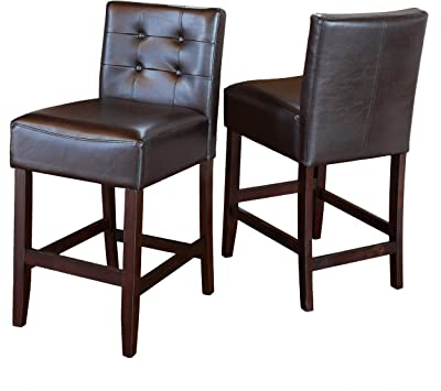 Christopher Knight Home Tate Tufted Leather Counter Stools, 2-Pcs Set, Brown