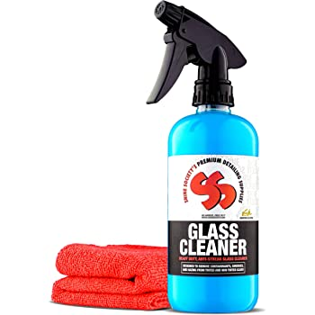 Shine Society Glass and Window Cleaner with Free Microfiber Towel, 100% All Natural Heavy Duty Glass Cleaner for Tinted or Non Tinted Automotive Glass (18 oz.)