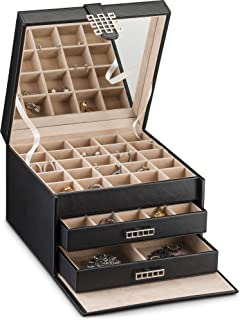 Earring Organiser Holder - 50 Small & 4 Large Slots Classic Jewellery Box with Drawer & Modern Closure, Full Mirror, 3 Trays for All Sizes Earrings, Ring Or Chains Storage - PU Leather Case - Black