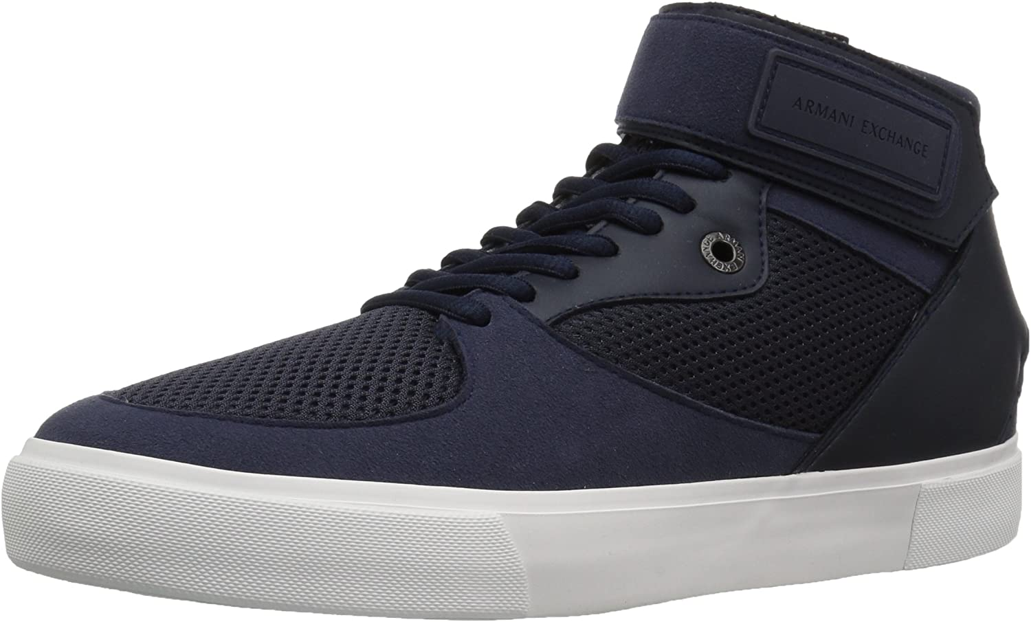A X Armani Exchange Mens High Top Sneaker with Ankle Strap and Mesh Detail Sneaker