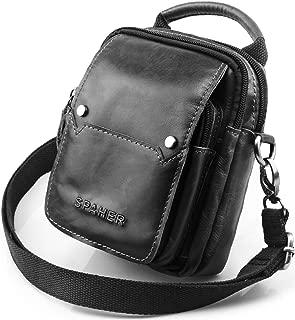 SPAHER Mens Genuine Leather Waist Bag Cross Body Bag Messenger Shoulder Bag Handbag Mobile Phone Small Belt Pouch Holster Case Men Gift for Money Purse Wallet