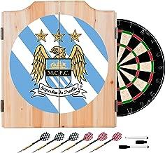 Trademark Gameroom Premier League Manchester City Dart Cabinet Includes Darts and Board