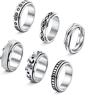 LOYALLOOK Fidget Ring Spinner Ring Anxiety Ring Fidget Rings for Anxiety for Women Stainless Steel Rings