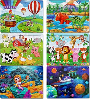 Puzzles for Kids Ages 3-8, Apfity 60 Pieces Wooden Jigsaw Puzzles Preschool Educational Learning Toys Set for 3 4 5 Years Old Boys and Girls (6 Pack