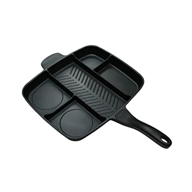 Master Pan Non-Stick Divided Grill/Fry/Oven Meal Skillet, 15 , Black