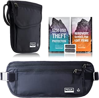 Travel Money Belt with RFID Block - Theft Protection and Global Recovery Tags (Combo Pack - Money Belt & Neck Wallet (Black))