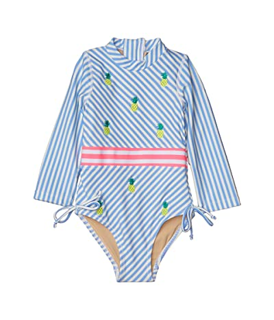 shade critters Long Sleeve One-Piece Stripe Pineapple (Infant/Toddler) (Blue) Girl