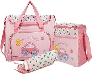 Baby Bucket Baby Diaper Nappy Changing Baby Diaper Bag/Baby Bag/Mummy Bag/Handbag (4pcs Set Dark Pink)