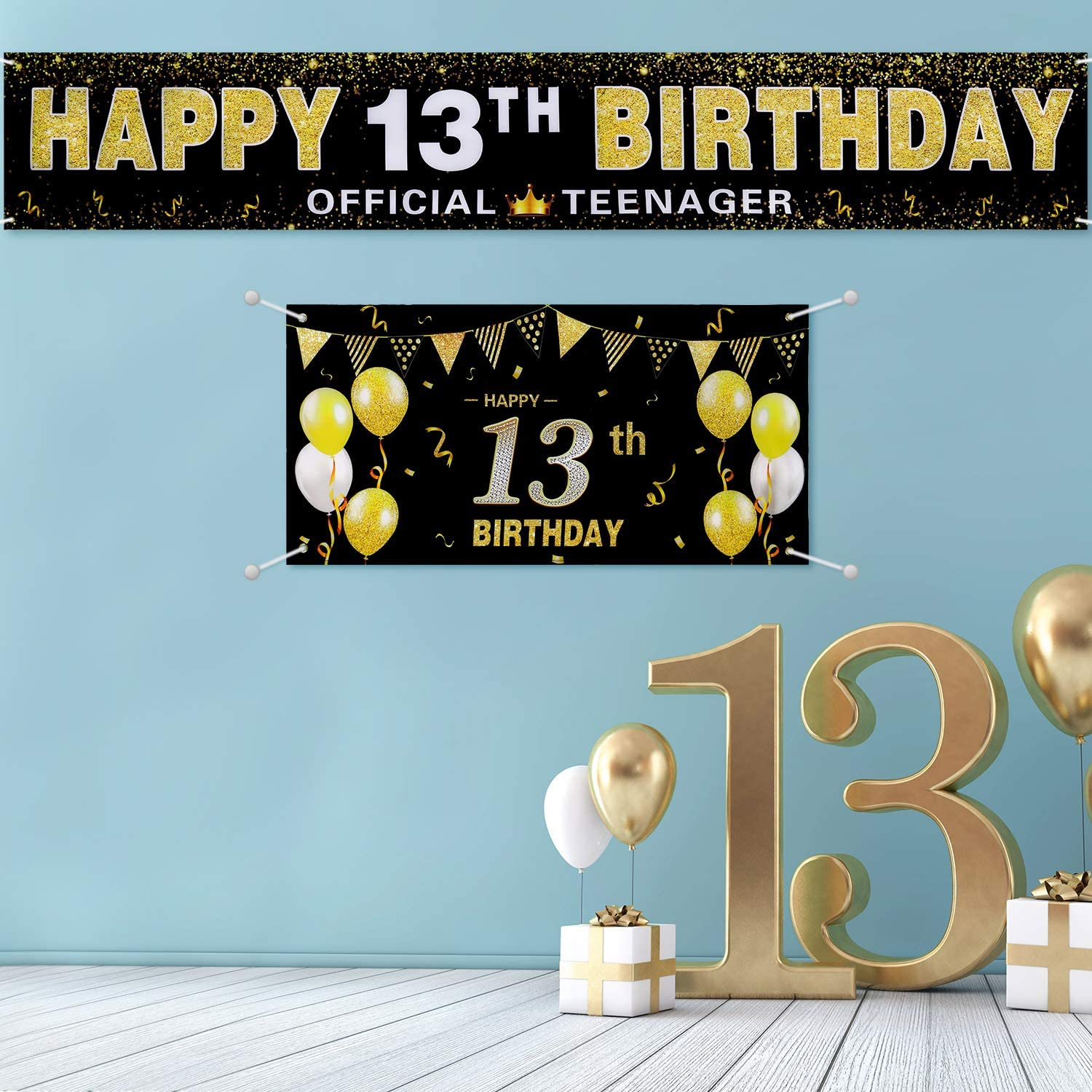 2 Pieces Large Happy 13th Birthday Banner 13th Background Banner