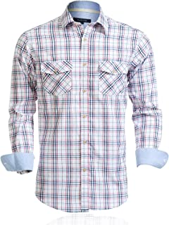 Mens Shirts Long Sleeve Casual with Two Front Pockets Regular Fit Plaid Button Up Shirts for Men