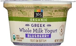 365 Everyday Value, Organic Greek Whole Milk Yogurt  with Fruit on the Bottom, Blueberry, 5.3 oz