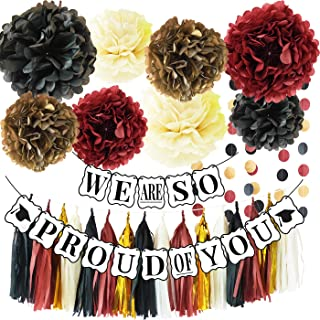 Graduation Party Supplies 2019 Graduation Party Decrations We are So Proud of You Banner Black Gold Burgundy Decorations Classy and Luxurious Graduation Banner for 2019 Graduation Decorations