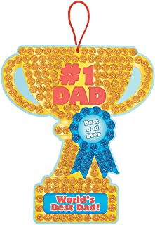 Fun Express - Dad Glitter Foam Mosaic Sign Craft Kit for Father's Day - Craft Kits - Hanging Decor Craft Kits - Sign Decoration Craft Kits - Makes 12 Kits