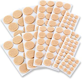 Self-Stick Assorted Sizes Furniture Round Felt Pads Floor Protectors for Hard Surfaces, 152 Pieces - Natural