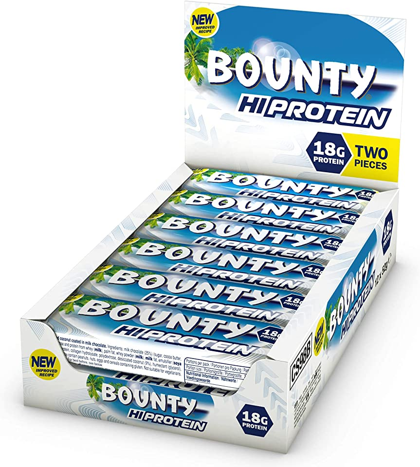 Bounty Hi Protein Bar (12 x 52g), High Protein Energy Snack with Milk Chocolate and Coconut, 18g Protein