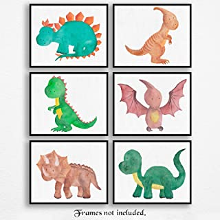 Baby Dinosaurs Poster Prints, Set of 6 (8x10) Unframed Pictures, Great Wall Art Decor Gifts Under 20 for Home, Office, School, Nursery, Shop, Salon, Children, Student, Teacher, Earth & Animals Fan