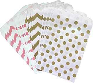 Outside the Box Papers Pink Gold and White Paper Treat Sacks - Chevron Polka Dot Favor Bags- 5.5 x 7.5 Inches - 48 Pack
