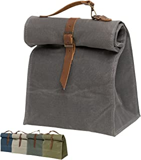 Lunch Box, Lunch Bag, Waxed Canvas / Large Capacity / Insulated / Reusable / Thermal for Kids Men Women - for Work / Offic...