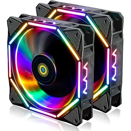 conisy 120mm Ventilateur de boîtier,Ultra Silencieux RGB LED Ordinateur de Bureau Ventilateurs de Refroidissement - Coloré (2 pièces)