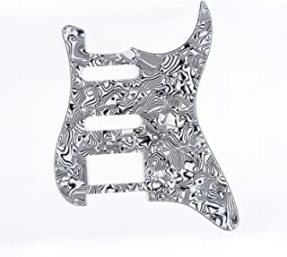 Musiclily HSS 11 Holes Strat Electric Guitar Pickguard for Fender US/Mexico Made Standard Stratocaster Modern Style Guitar Parts,4Ply Shell Black and white