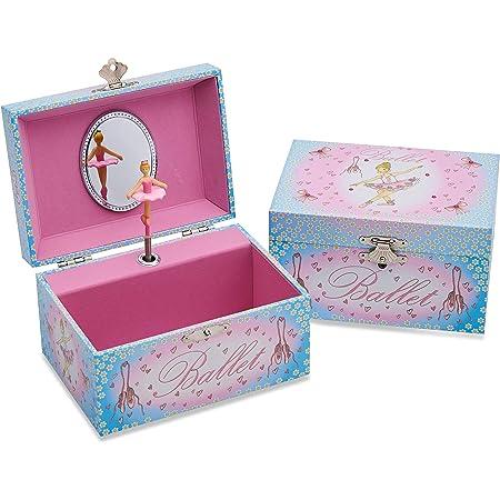 Lucy Locket Portagioie 'Ballerina' (portagioie, carillon musicale, scatola regalo per bambini) - Rosa e celeste glitterato Carillon per bambini