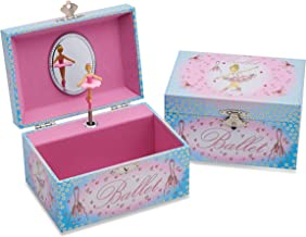 Lucy Locket Ballerina Musical Jewellery Box for Children - Pink and Blue Glittery Kids Musical Box