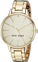 Nine West Women's Crystal Accented Gold-Tone Bracelet Watch
