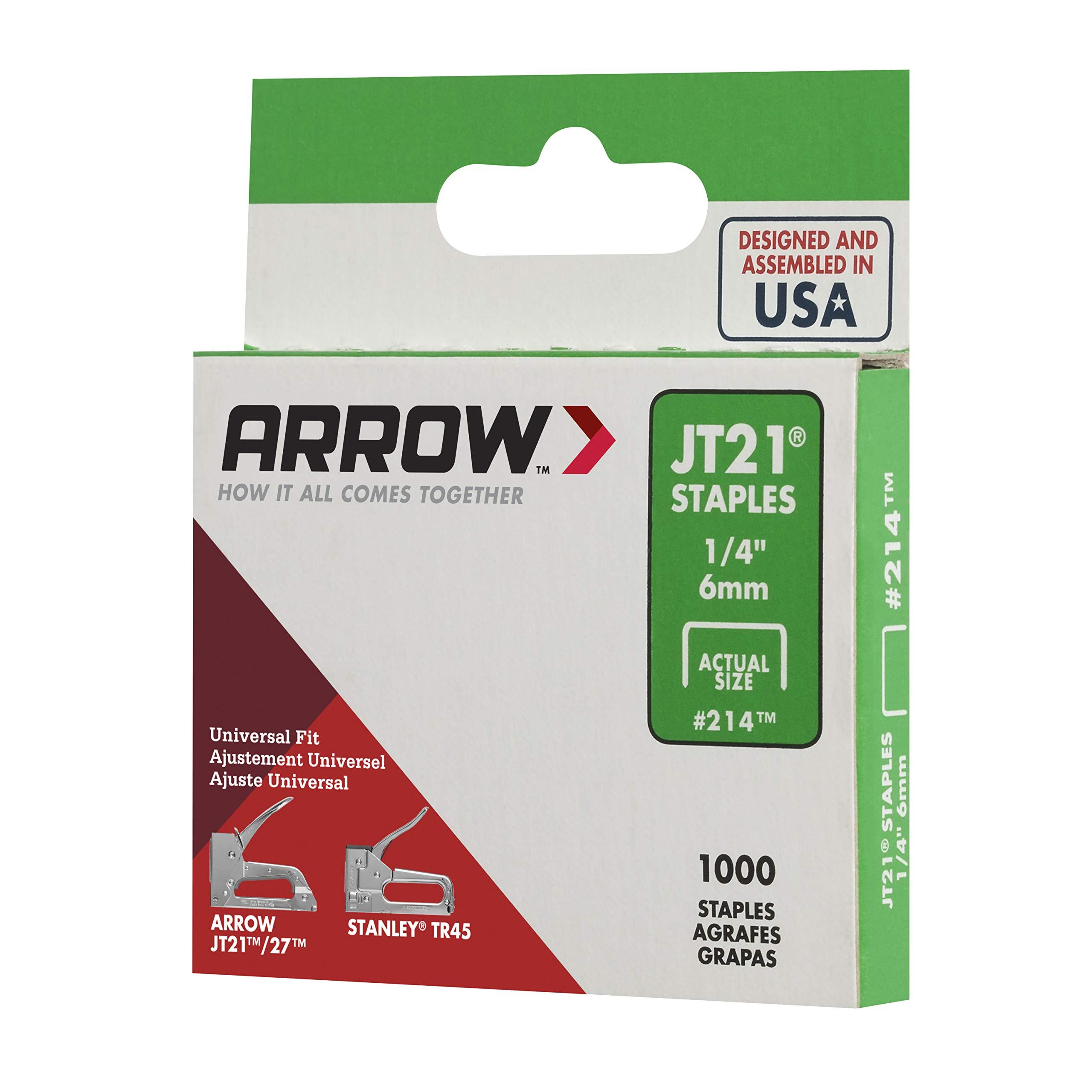 1,000-Staples New Arrow Fastener 214 Genuine JT21 1//4-Inch Staples