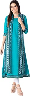 M&D 3/4 Sleeve double layer A-Line kurti for women for Casual,Festive occasions