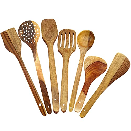 ITOS365 Handmade Wooden Spoons Cooking & Serving Utensil-Set (7-Pieces) Kitchen Tools, Set of 7