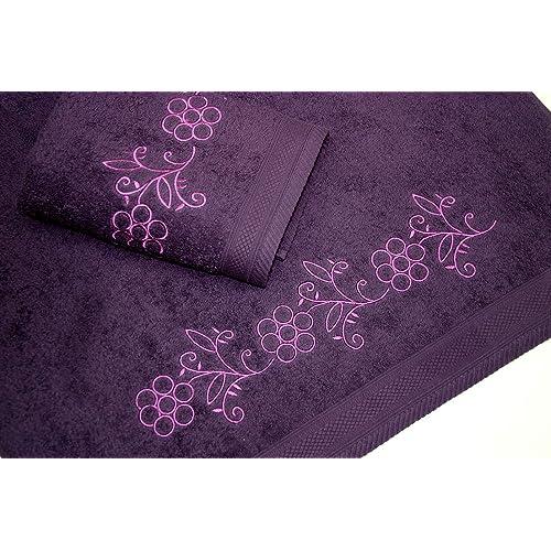 Juego de Toallas Bordadas 2 piezas 550gr (Violeta FLOWERS Nº9)