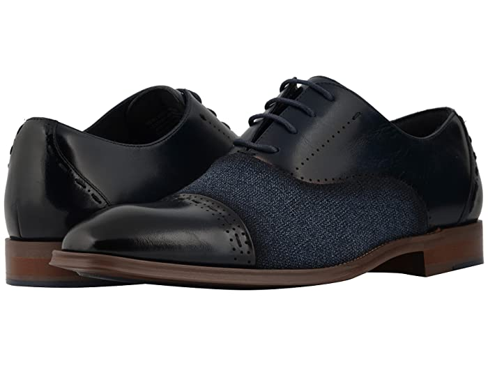 1950s Mens Shoes: Saddle Shoes, Boots, Greaser, Rockabilly Stacy Adams Barrington Cap Toe Lace Up Oxford Navy Mens Shoes $84.08 AT vintagedancer.com