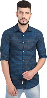 Asian & Fitch Men Casual Slim Fit Cotton Checkered Ink Blue Shirt