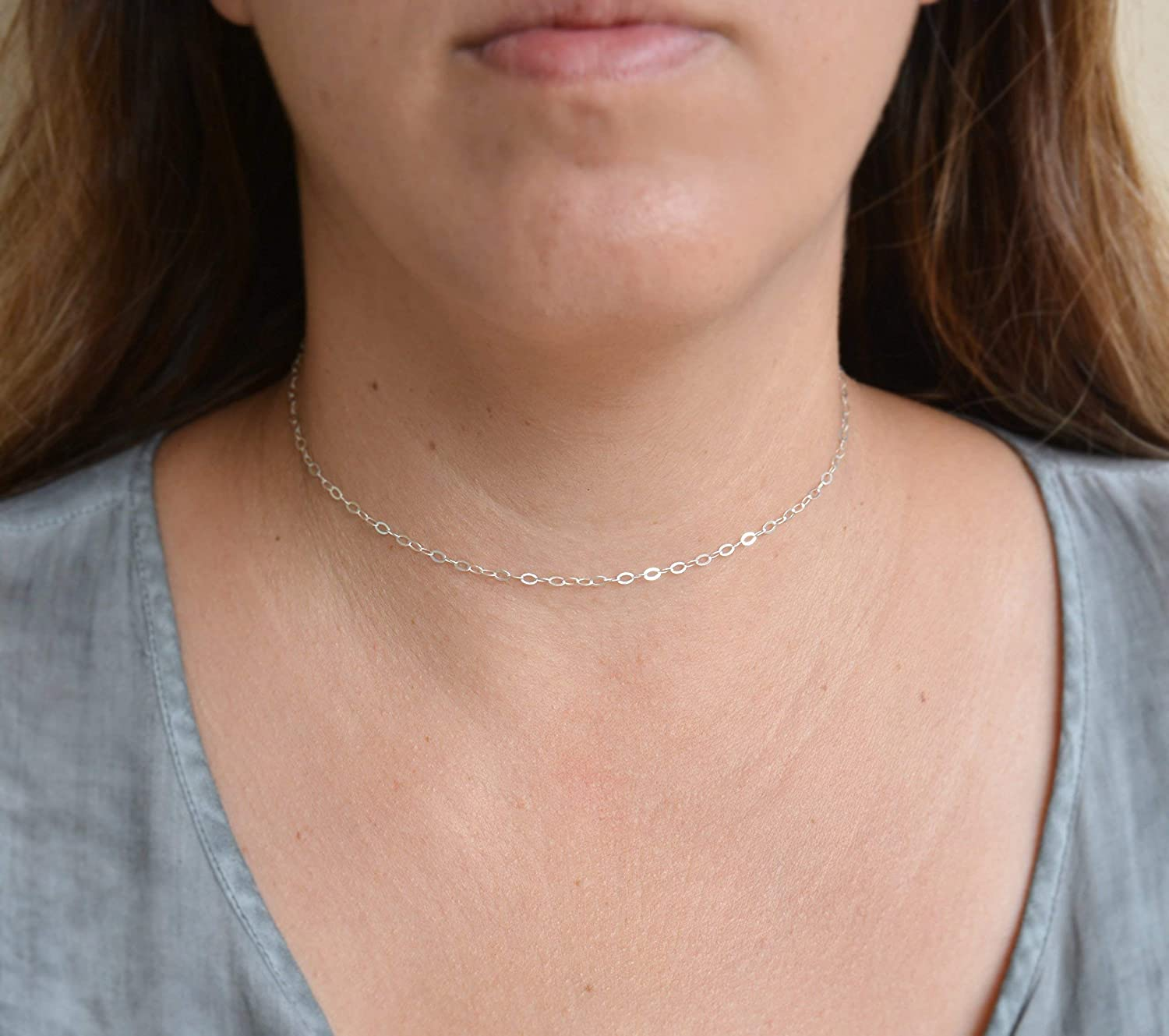 Limited time for free shipping Silver choker necklace thin minimal dainty 70% OFF Outlet simple