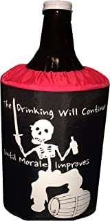 Growler Carrier Cooler Cover for 64oz Glass Growlers (Pirate) (Black/Red)
