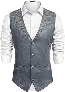 COOFANDY Men's Suede Leather Suit Vest Casual Western Vest Jacket Slim Fit Vest Waistcoat - - S