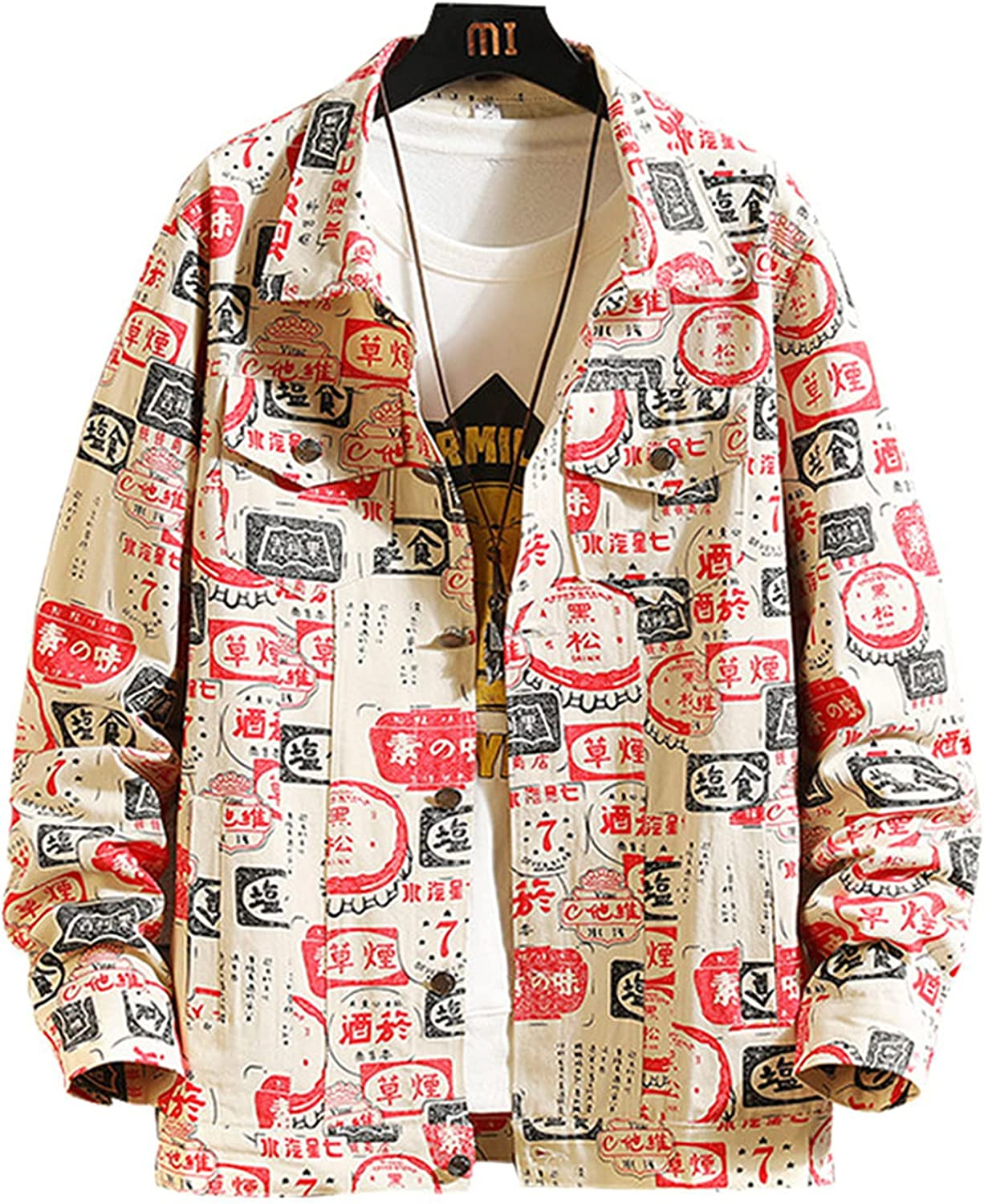 Men's Graffiti Denim lowest price Jacket with Party Plus Button Size Clubwear Max 47% OFF