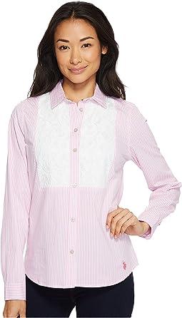 Long Sleeve Lace Insert Striped Shirt